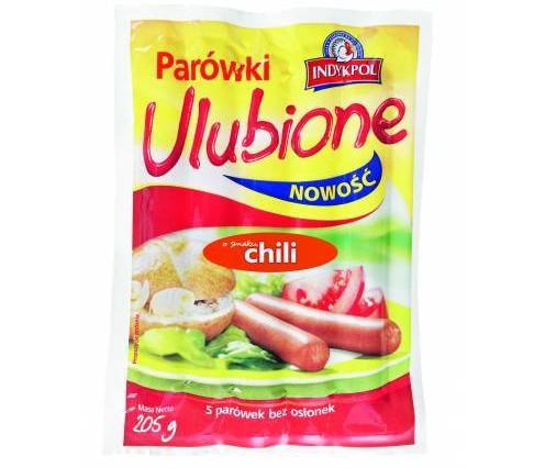 """""""Parówki Ulubione o smaku chili"""", 205g (Indykpol S.A.)"""