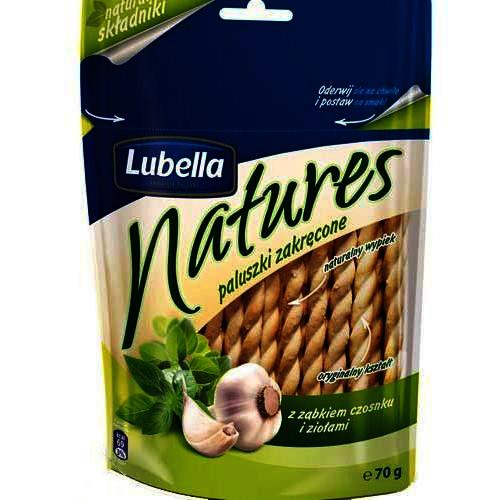 """""""Natures. Paluszki zakręcone. Z ząbkiem czosnku i ziołami"""", 70g (Lubella)"""